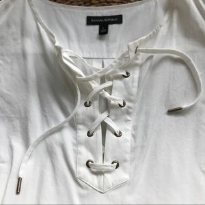Banana Republic L sleeveless lace-up elegant top